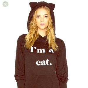I'm a cat wildfox cat ear hoodie sweatshirt top
